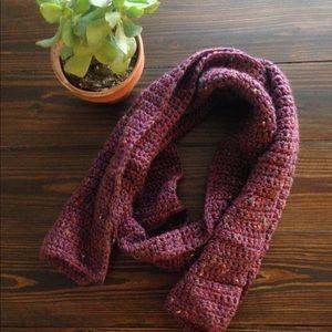 Hand Knit Maroon Scarf